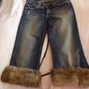 7 for all Mankind Jeans, Removable Rabbit Fur Trim